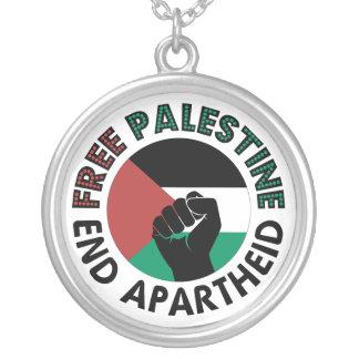 Bandeira livre de Palestina do Apartheid do fim de Colar Com Pendente Redondo