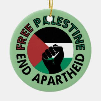 Bandeira livre de Palestina do Apartheid do fim de Ornamento De Cerâmica Redondo