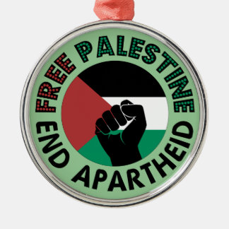 Bandeira livre de Palestina do Apartheid do fim de Ornamento Redondo Cor Prata