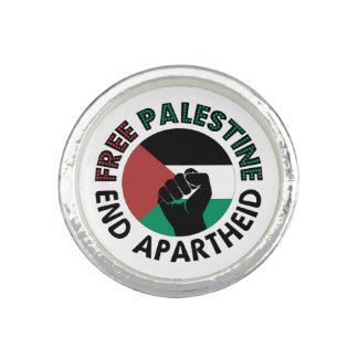 Bandeira livre de Palestina do Apartheid do fim de Anéis Com Imagem