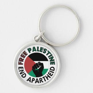 Bandeira livre de Palestina do Apartheid do fim de Chaveiro Redondo Na Cor Prata