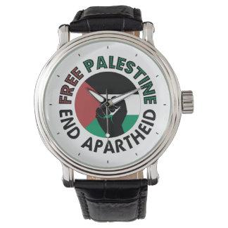 Bandeira livre de Palestina do Apartheid do fim de Relogio