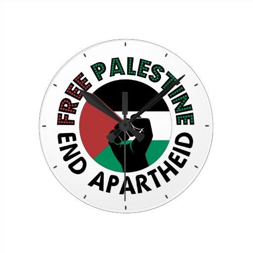 Bandeira livre de Palestina do Apartheid do fim de Relógios De Pendurar