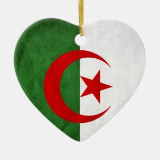 Bandeira nacional de Argélia do Grunge Ornamento De Cerâmica Coração