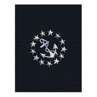 Bandeira náutica do cromo da bandeira do iate no cartão postal