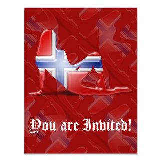 Bandeira norueguesa da silhueta da menina convite 10.79 x 13.97cm