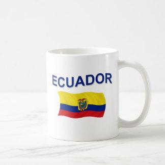 Bandeira ondulada de Equador Caneca De Café