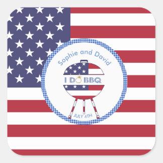 Bandeira original 4o dos EUA do partido de julho Adesivo Quadrado