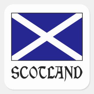 Bandeira & palavra de Scotland Adesivo Quadrado