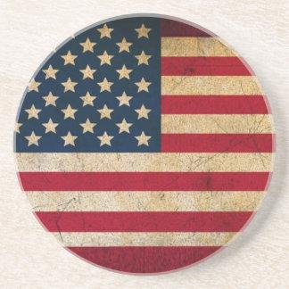 Bandeira patriótica dos Estados Unidos no Grunge Porta Copos De Arenito