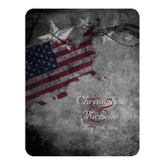 Bandeira patriótica dos EUA com as estrelas que Convite 10.79 X 13.97cm