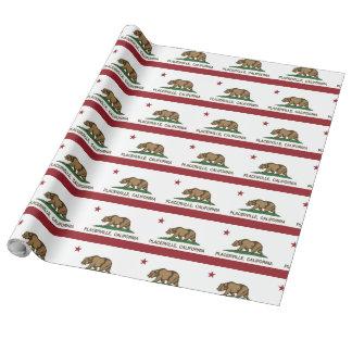Bandeira Placerville da república de Califórnia Papel De Presente