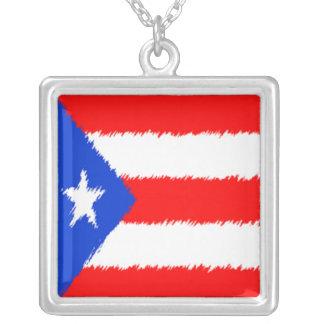 Bandeira porto-riquenha colar banhado a prata