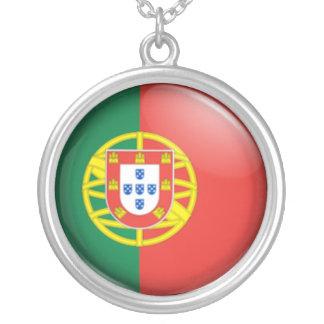 Bandeira portuguesa colar com pendente redondo