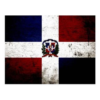 Bandeira preta da República Dominicana do Grunge Cartão Postal