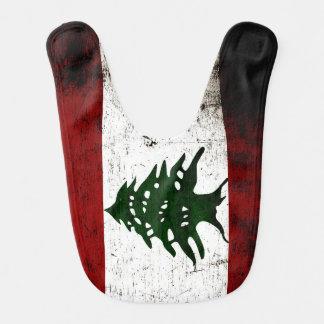Bandeira preta de Líbano do Grunge Babador Infantil