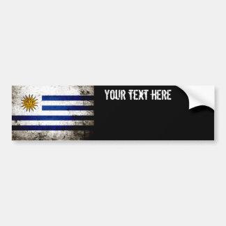 Bandeira preta de Uruguai do Grunge Adesivo Para Carro