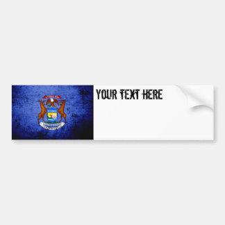 Bandeira preta do estado do Michigan do Grunge Adesivo Para Carro