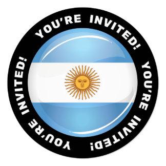 Bandeira redonda lustrosa de Argentina Convite Quadrado 13.35 X 13.35cm