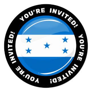Bandeira redonda lustrosa do Honduran Convite Quadrado 13.35 X 13.35cm
