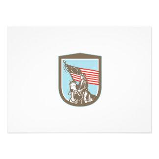 Bandeira revolucionária americana do cavalo do convites personalizado