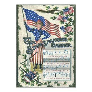 Bandeira star spangled de bandeira americana da convite 12.7 x 17.78cm