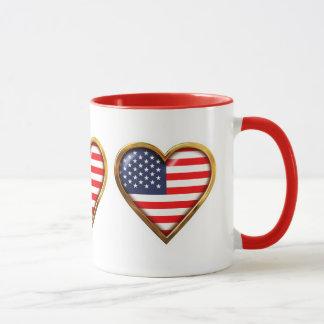 Bandeiras americanas Coração-Dadas forma Caneca