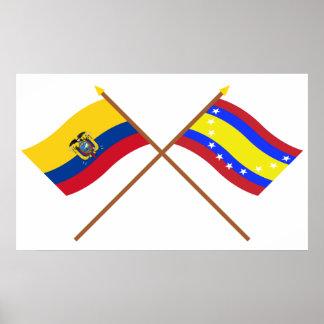 Bandeiras cruzadas de Equador e de Loja Posters