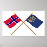 Bandeiras cruzadas de Noruega e de Oslo Posteres