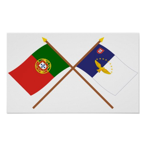 Bandeiras cruzadas de Portugal e dos Açores Poster