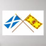 Bandeiras cruzadas de Scotland Posteres