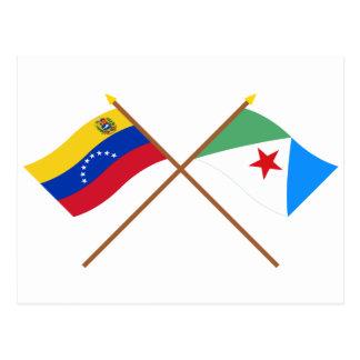 Bandeiras cruzadas de Venezuela e de Mérida Cartão Postal
