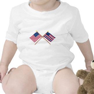 Bandeiras cruzadas dos E.U. e do Serapis Macacãozinhos Para Bebê