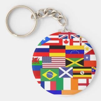 Bandeiras da colagem do mundo chaveiro