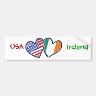 Bandeiras do coração dos EUA Ireland Adesivo Para Carro