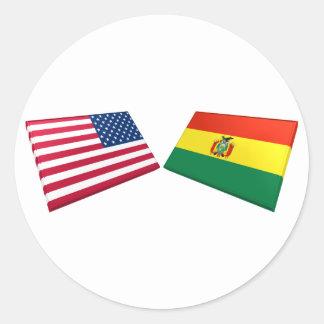 Bandeiras dos E.U. & da Bolívia Adesivos Em Formato Redondos