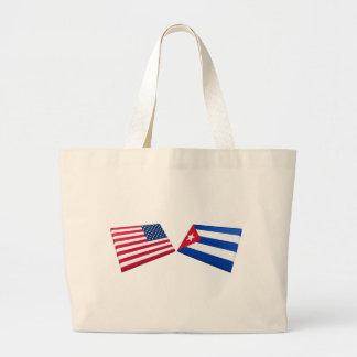 Bandeiras dos E.U. & da Cuba Bolsas De Lona