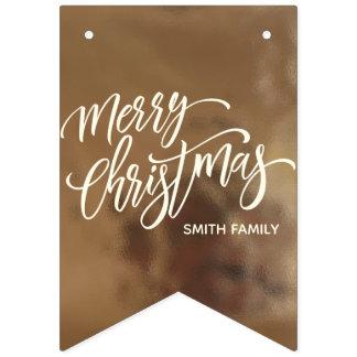 Bandeirinha Tipografia do Feliz Natal na textura cremosa do