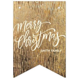 Bandeirinha Tipografia do Feliz Natal na textura da chuva do