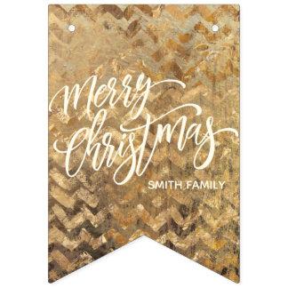 Bandeirinha Tipografia do Feliz Natal na textura de Chevron do