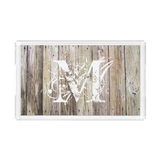 Bandeja acrílica Monogrammed de madeira rústica