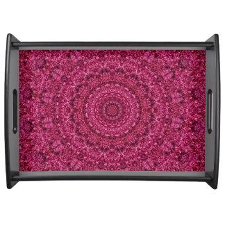 Bandeja Arte floral magenta brilhante da mandala