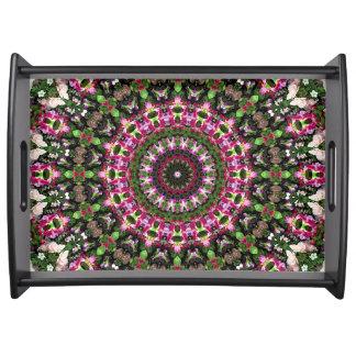 Bandeja Arte floral magenta e verde brilhante da mandala
