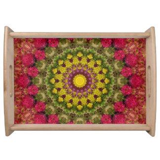Bandeja Arte floral vívida da mandala da magenta & do
