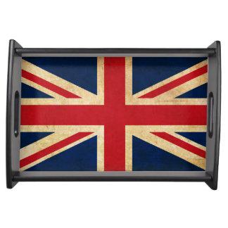 Bandeja Bandeira velha Union Jack de Reino Unido do Grunge