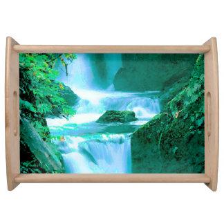 Bandeja Cachoeira sereno no azul e no verde