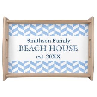 Bandeja Costume branco azul da casa de praia de
