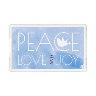 Bandeja De Acrílico A aguarela azul do amor e da alegria da paz