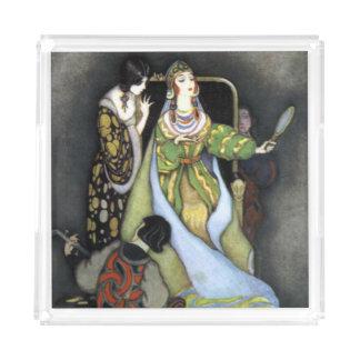 Bandeja De Acrílico Arte escura do vintage da rainha do conto de fadas
