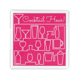 Bandeja De Acrílico Cocktail cor-de-rosa